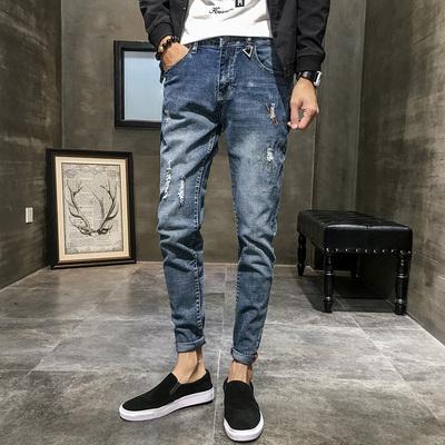 磨砂牛仔裤