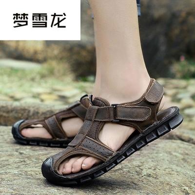 凉鞋男简约魔术贴舒适新款英伦风夏潮时尚透气2018沙滩鞋户