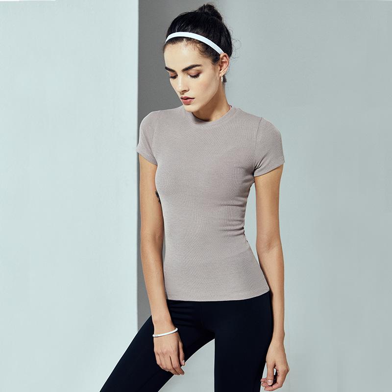 健身上衣女夏季新款性感修身显瘦紧身运动t恤短袖跑步瑜伽训练服