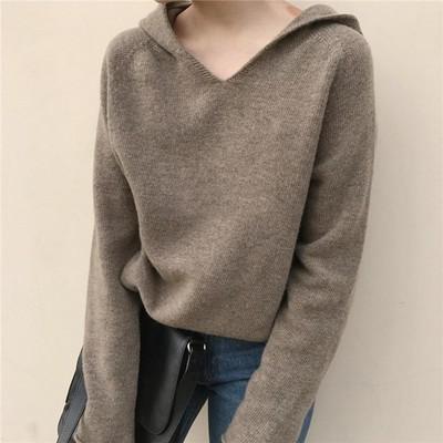 带帽卫衣女韩版学生bf  宽松厚款针织衫羊毛衫 超火 戴帽毛衣大码