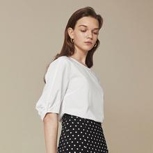 【自营】伊芙丽2018秋装新款衬衣上衣职业气质白色纯棉衬衫女韩范图片