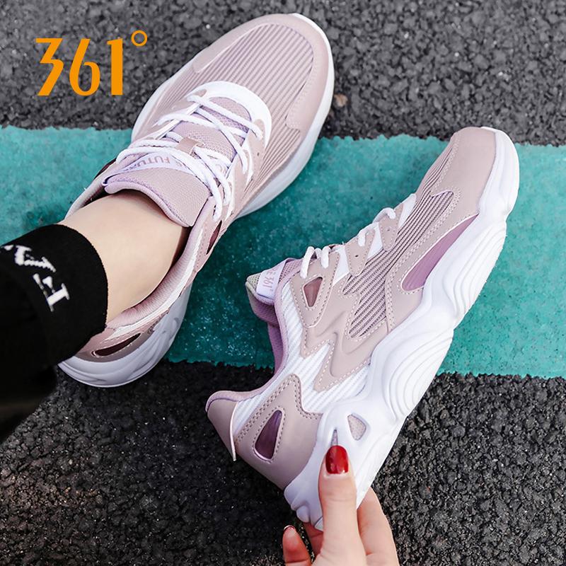361度运动鞋女鞋2019秋休闲鞋透气运动鞋防滑跑步老爹鞋