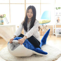 Large whale shark plush toy Large whale doll lean by cartoon Shark blue whale child pillow doll