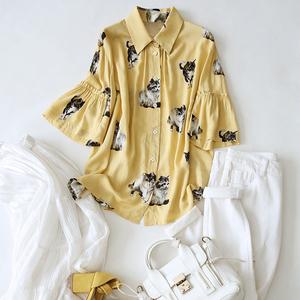 ^@^戎美【CY0323932】萌趣手绘猫咪 减龄酪黄 时尚袖型真丝衬衫