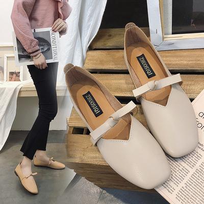 晚晚鞋温柔平底仙女百搭低跟韩版学生奶奶秋鞋秋季鞋子2018新款潮