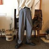 YAOKOLA 春款 复古风 90S日系垂感宽松直筒拖地西裤休闲长裤男女