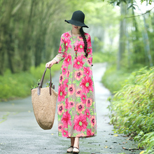 Yang Liping's cotton dress with the same style of national style and pure cotton silk with large flowers is worn in summer fashion with a cotton artificial cotton foreign-style dress.