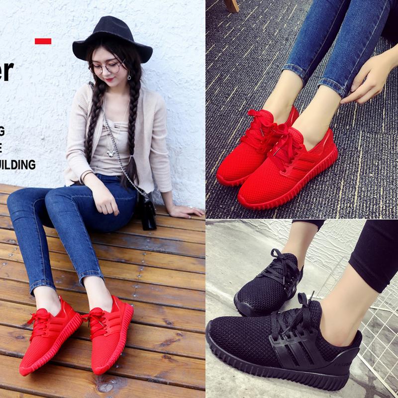 红色运动鞋女潮
