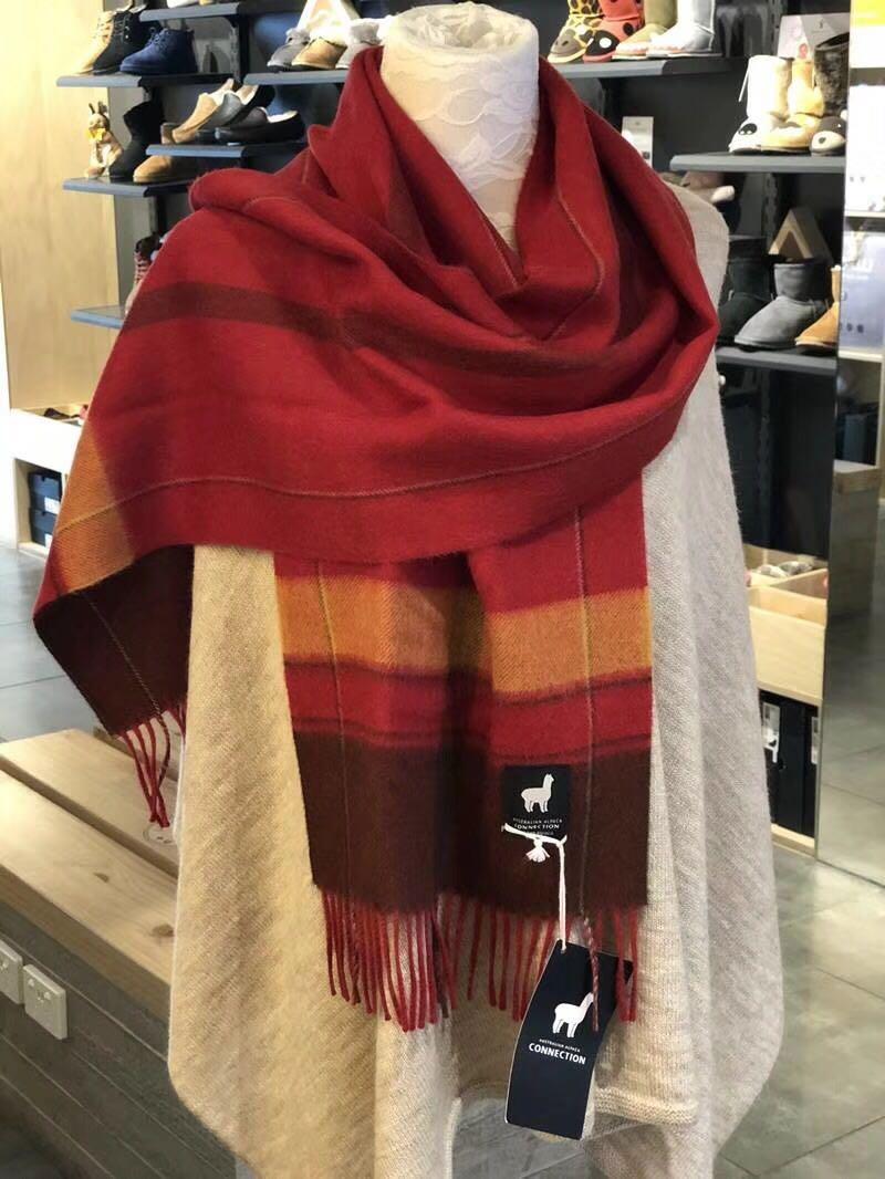 澳洲羊驼(草泥马)毛围巾 大红色 热销