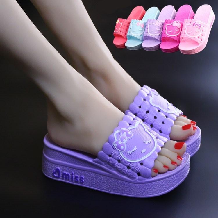夏季女士可爱松糕厚底防滑高跟居家凉拖鞋室内外浴室休闲一字拖鞋