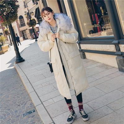 韩国东大门过膝中长款加厚连帽棉衣女宽松chic大毛领工装棉服外套