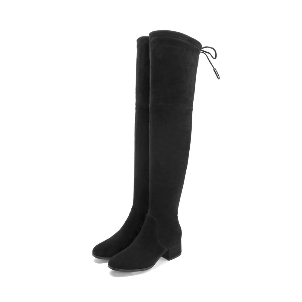 天美意冬商场同款羊绒皮革女靴过膝靴AS591DG8