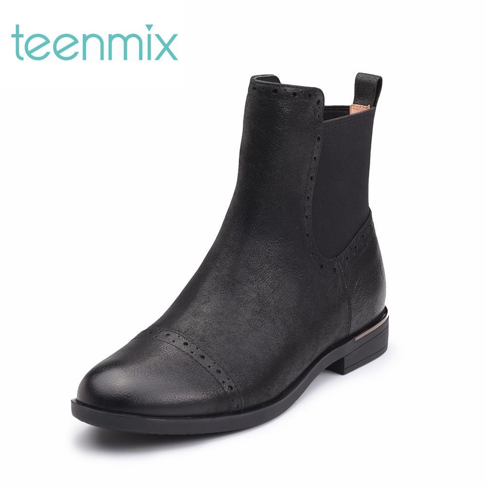 CBQ43DD7 冬专柜同款珠光牛皮切尔西靴女靴 2017 天美意