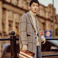 【送】MECITY反季格子双面呢羊毛呢大衣男中长款韩版