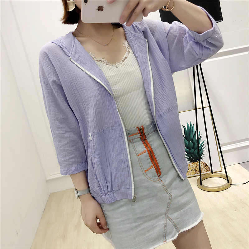 Huiyige spring and summer cotton nine-point sleeves hooded jacket Korean loose wild fold