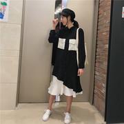 2018春秋季新款韩版潮假两件套拼接鱼尾连衣裙女士超长款衬衫裙子