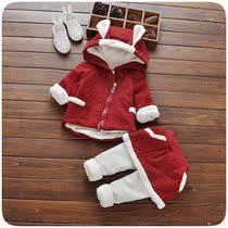 女宝宝加绒加厚套装0一1-2-3岁韩版婴儿童小女童秋冬装衣服洋气潮