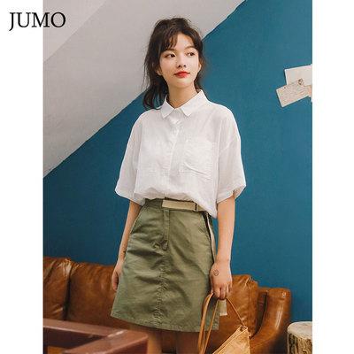桔茉2018夏季新款韩版小清新宽松学院衬衫韩范口袋不对称白衬衫女
