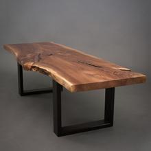 北欧美式复古茶几茶桌创意餐桌整板大班台实木不规则边咖啡桌椅