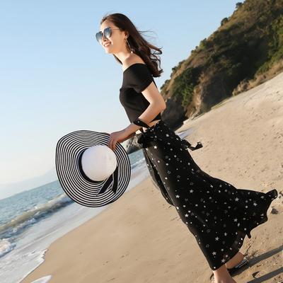 秋水仙一片式绑带半身裙梦幻星星沙滩度假长裙雪纺夏款百搭休闲裙