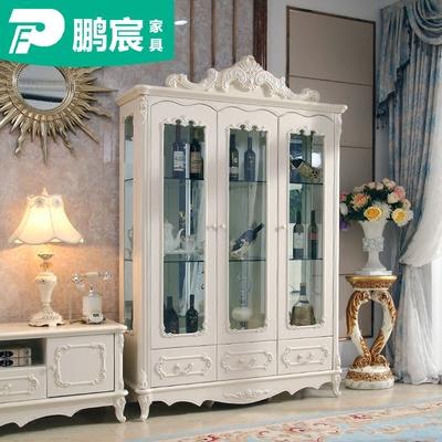 酒柜欧式客厅3门酒柜组合餐厅三门展示柜白色玻璃储藏收纳柜子