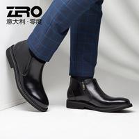 Zero零度男靴秋冬短靴切尔西靴男韩版潮流拉链真皮休闲短靴皮靴男