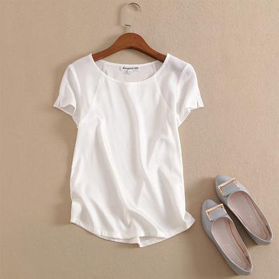 2019夏新款100重磅真丝上衣修身简约白色t恤女短袖桑蚕丝衬衫包邮