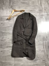 70% wool men's long Plaid overcoat, waistband windbreaker, double-sided wool overcoat