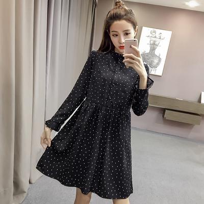 2018秋季新款小个子碎花连衣裙女士韩版雪纺长袖内搭黑色打底裙子