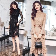欧洲站女装2019秋装新款时尚气质名媛小香风长袖中长款蕾丝连衣裙图片