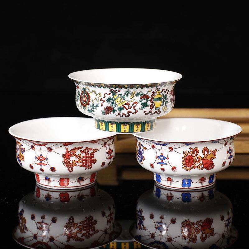 上新禅居供碗佛具 陶瓷供碗供杯八吉祥供奉八宝斋碗佛堂佛前供杯