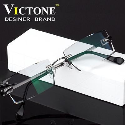 钻石切边无框眼镜纯钛超轻眼镜近视眼镜框变色眼镜架防辐射蓝光男