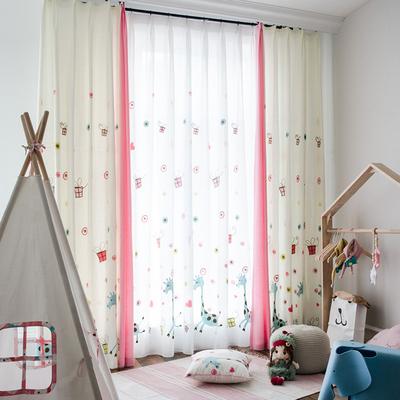 窗帘成品时尚卡通粉色女孩儿童房卧室遮光布风格定制飘窗帘thz评价好不好