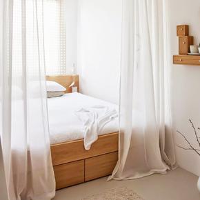 成品定制纱帘简约现代卧室客厅阳台白色纯色百搭飘窗帘落地窗纱xj