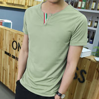 Summer Men's Short Sleeve T-Shirt Round Neck Solid Color T-Shirt Teen Bottoming Shirt Korean Half Sleeve Top Summer Dress
