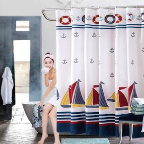 卫生间浴帘防水加厚防霉隔断帘挂帘厕所窗帘布涤纶浴室沐浴门帘子