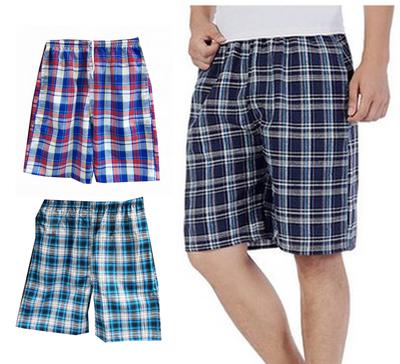 夏季男士纯棉格子沙滩裤大码男子居家宽松休闲短裤速干薄款五分裤