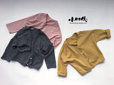 2019 Spring and Autumn Korean version of the children's cotton cardigan boy V-neck loose jacket female baby solid color roll-trimmed top