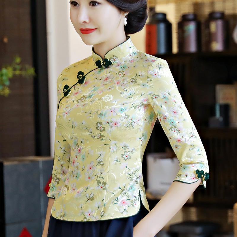 中国风旗袍上衣改良时尚唐装中式复古中袖套装日常修身女装茶服夏
