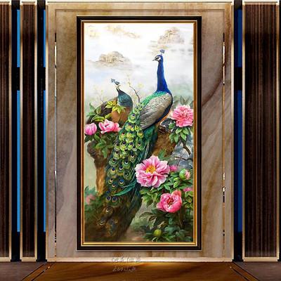 孔雀油画装饰画手绘欧式富贵牡丹手工风水玄关餐厅走廊过道挂壁画谁买过的说说