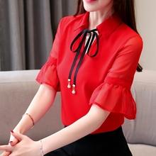 夏装女2019新款韩版女装仙女气质翻领蝴蝶结雪纺衬衫女时尚打底衫图片