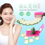 2 pieces of cucumber slice beautifying device, cucumber thin slicer, face knife, knife, device, peeled cucumber, pencil sharpener.