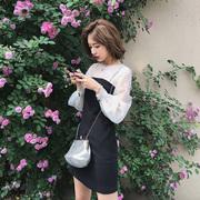 波点连衣裙2018新款秋装女韩版拼接长袖气质修身裙子欧根纱一字裙