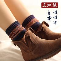 韩国堆堆袜子女秋冬粗线复古日系森系中筒棉袜学院风保暖长袜靴袜