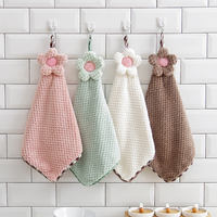 Plain Sun Flower Hand towel Hanging dish towel absorbent rag cloth dishwashing children cloth towel not lint wash towel