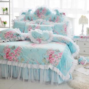 韩版全棉斜纹蕾丝花边床裙四件套纯棉被套床罩婚庆公主床上用品