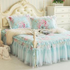 韩版田园风格蕾丝花边活性全棉床裙 纯棉床笠床单床罩床上用品