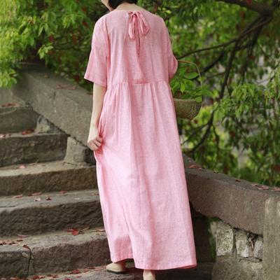 粉色连衣裙度假仙短袖高腰百褶后背系带宽松复古文艺棉麻长裙女夏