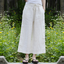 White flax wide-legged pants 9 minutes loose waist pull rope loose casual pants with a downward shape for the new autumn dress of 2019