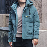 2019 winter coat men's tide Korean version of the hooded short cotton jacket ins cotton men's tide brand handsome tooling coat